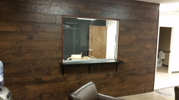 Laminate Flooring on Walls W/New Reception Top